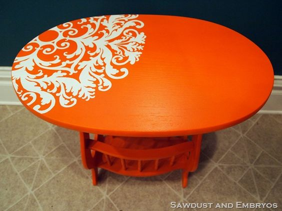End Table Makeover - I wish I could think outside the box like this! I would have just sanded and stained it!