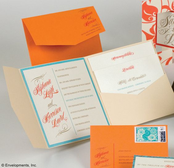 Invitation Paper Orange And Turquoise And Wedding