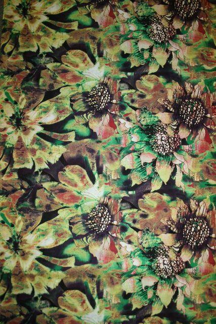 Bomulds-voil blomstret, græsgrøn/lime/brun