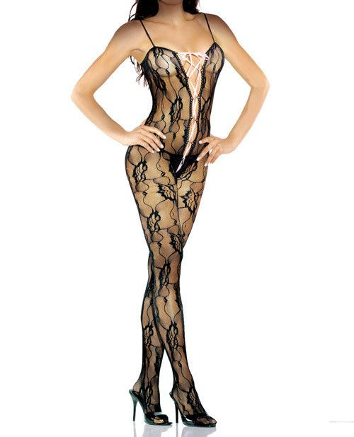 Make lace sexy by wearing the Desire Hosiery Bodystocking with Lace up Front from Fantasy Lingerie. You in this ensemble will create an unforgettable vision