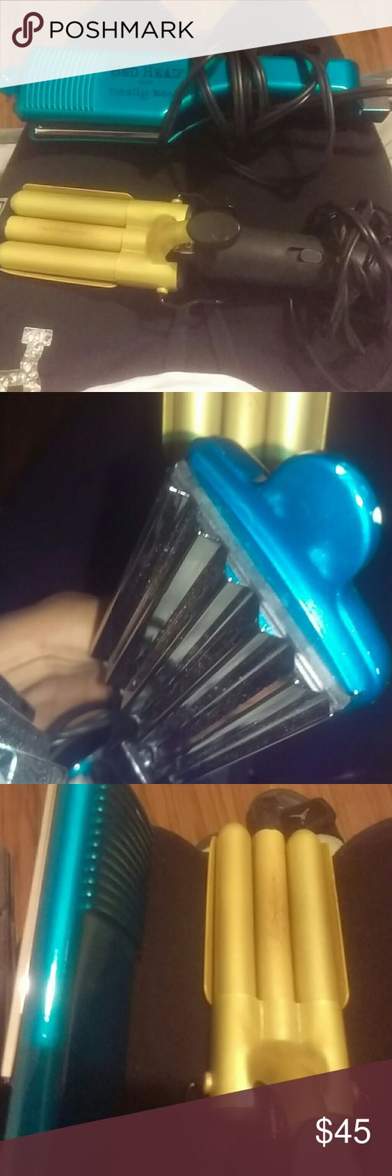 "Two hair curlers The blue one is from Bed Head  'Totally Bent' 2"" hair styler. The second one is from Belson Products Triple Barrel both are good quality only the Belson has been used BedHead Accessories Hair Accessories"