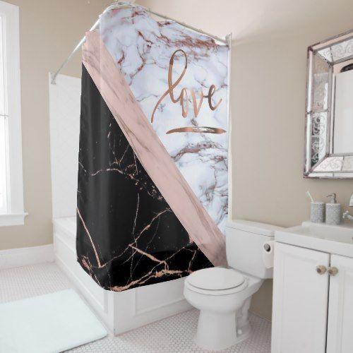 Elegant Rose Gold Faux Marble With Love Shower Curtain Zazzle Com Elegant Home Decor Black Shower Curtains Pink Bedroom Decor