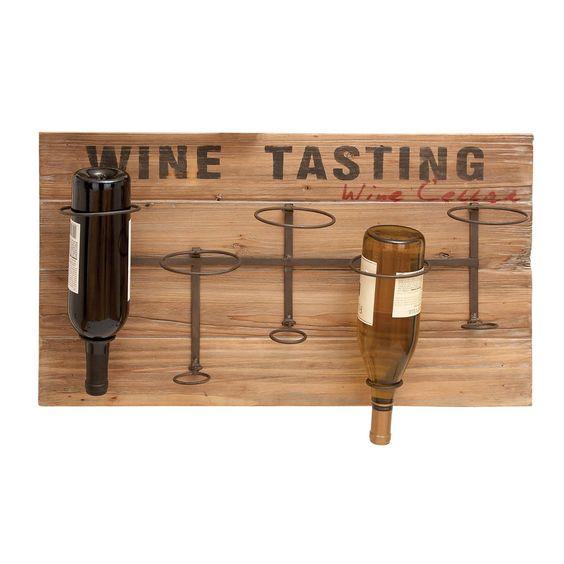 Woodland Imports 55844 Iron and Wood Wine Rack - Home Furniture Showroom