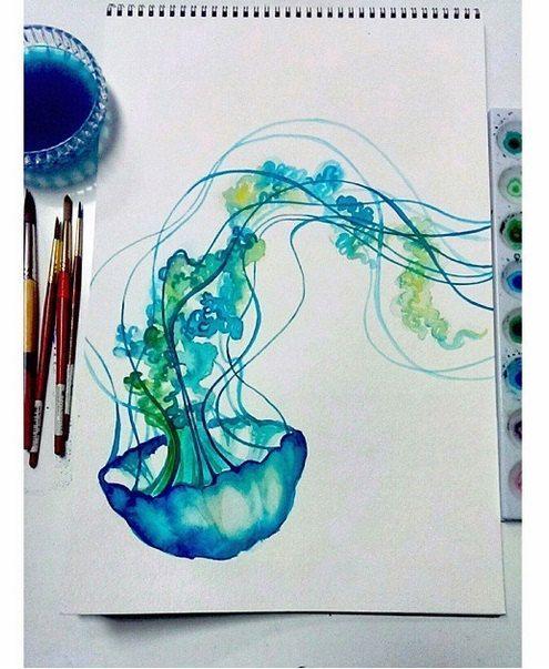 Blaue Quallen Aquarell Druck Spass Bunte Kunst Malerei