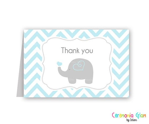 Baby shower thank you cards chevron elephant blue and grey ...