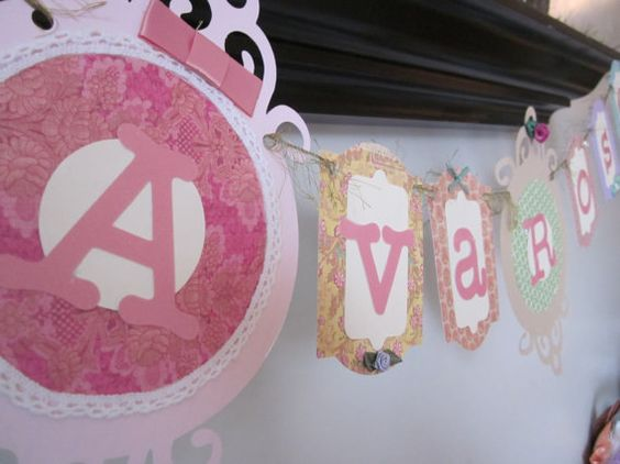 Shabby chic vintage baby name banner baby shower by thisNthat1109, $21.50 <-- say what? 21 bucks!? how about free fifty free since I can make this!!! hahaa