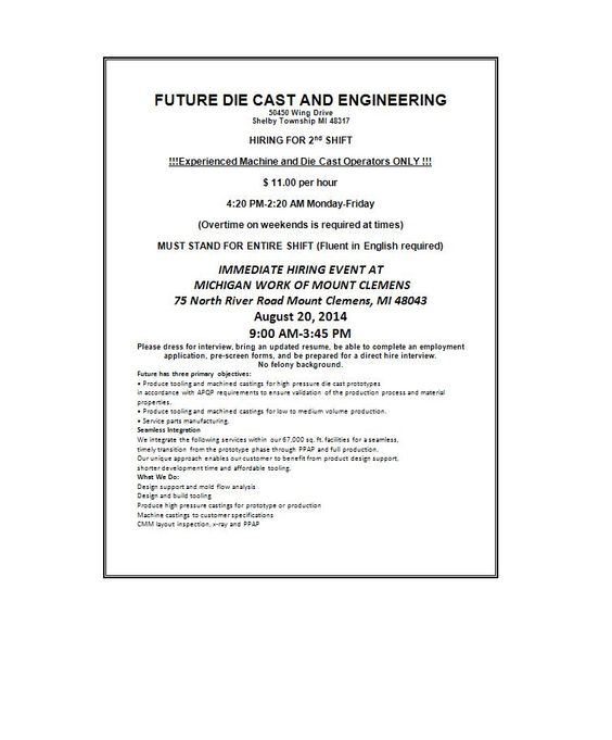 Macomb St Clair Michigan Works -G4S Secure Solutions - Job Fair - michigan works resume