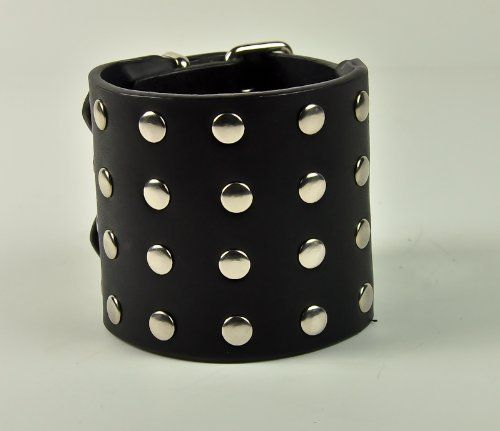 """2-1/2 Black Leather Cuff Wristband Round Stud 80s Gothic Punk Heavy Metal Death by Dysfunctional Doll - Wristband. $8.99. This is a Black genuine leather wristband. Nice design! 2-1/2"""" inches wide (7cm). With Round Studs. Buckle Closure. Measurments: 7"""" to 8-1/2"""" inches (18cm - 22cm)"""
