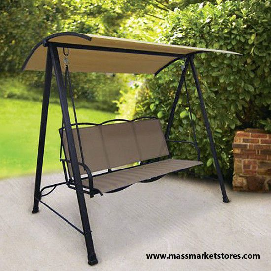 Metal Outdoor Swing Chair With Canopy 3 Seat Steel Frame Bench Garden Porch Yard Swingchairs Outdoor Patio Swing Backyard Seating Patio Swing