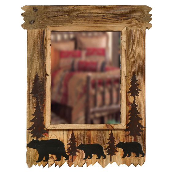 Wood black bear mirror lodge decor pinterest for Rustic bear home decor