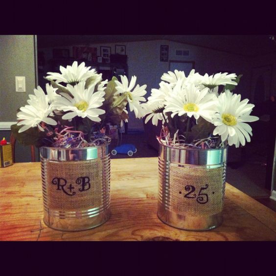 25th anniversary daisies and masons on pinterest for 10th anniversary decoration ideas