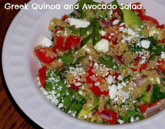 Healthy lunch idea - Fresh Greek Quinoa and Avocado Salad #recipes #salad #quinoa