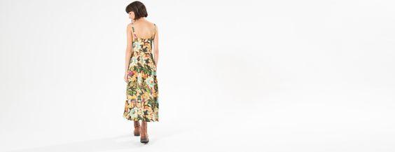 vestido botoes floral ceu | FARM