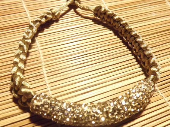 Golden tone Shamballa bracelet with encrusted focal by nubiannaturals on Etsy