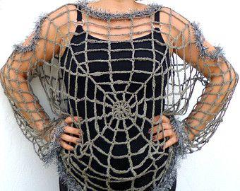 Spider Web Blouse, Halloween Spider web Costume Plus Size  Goth, Punk, Grunge, Hippie Clothing,  Grey Cobweb Crochet Sweater, Mesh Pullover