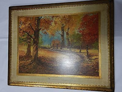 Vintage  Harland Young Gold Gilt Fall Country Print Wood Plaque Art