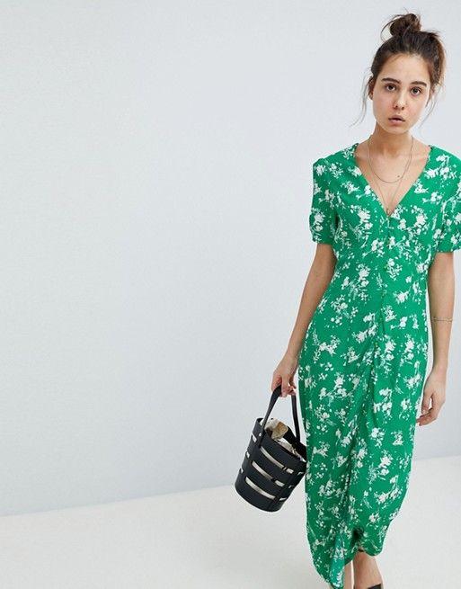 Asos Asos Design Button Through Maxi Tea Dress In Floral Tea Dress Asos Designs Clothes