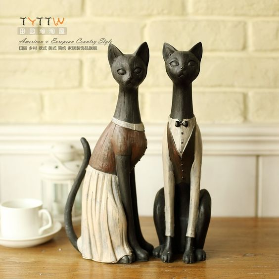 Американский кантри стиль,  кошки статуэтки 2шт., смола, ручная роспись 35.5cm высокое качество