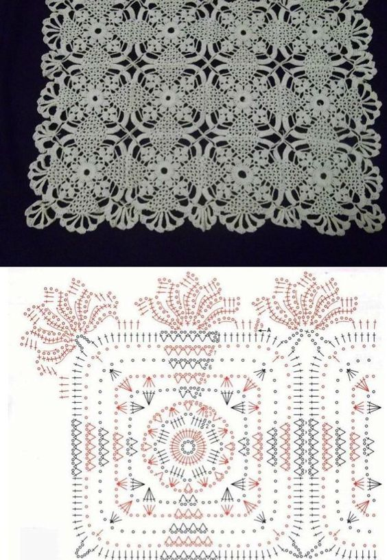 Crochet doily with diagram: