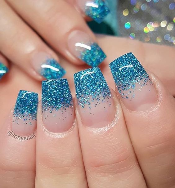 Turquoise and pink nail art design ideas