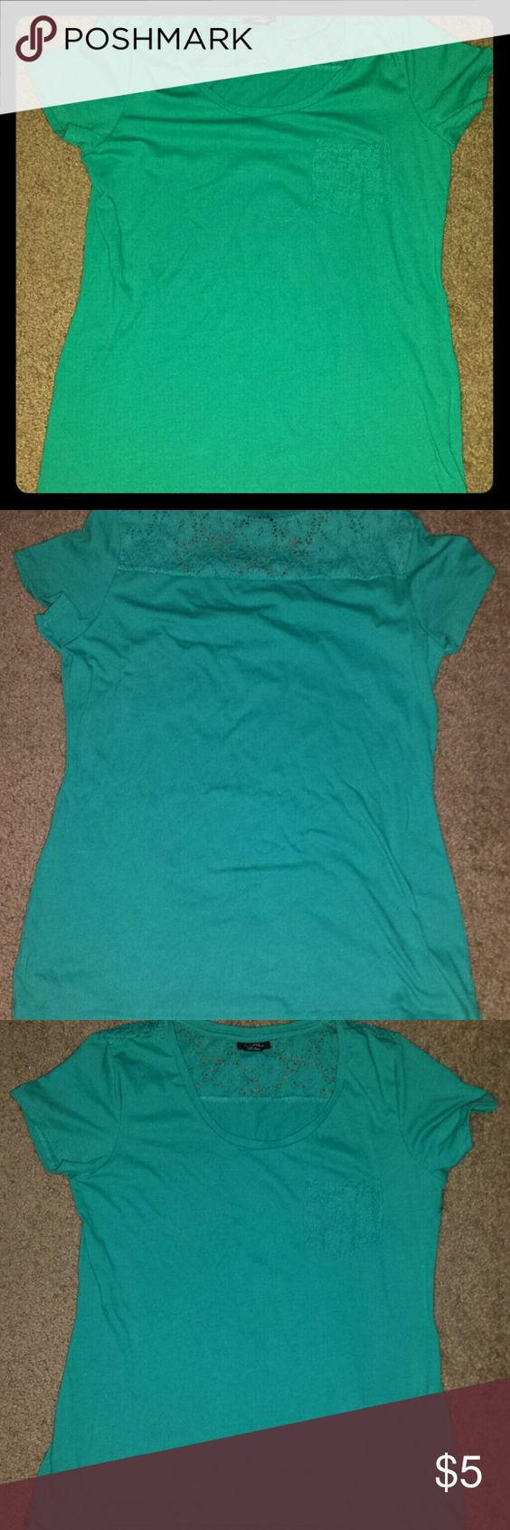 Teal T-shirt with embroidered detail A beautiful teal color t-shirt with embroidered detail on back shoulder area and front pocket. Like new condition, only been worn once. Best paired with skinny jeans for a casual look. From a smoke-free home. Rue 21 Tops Tees - Short Sleeve
