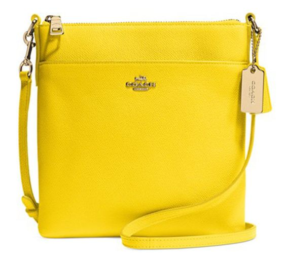 COACH North/South Swingpack in Embossed Textured Leather Light Gold/Yellow (NEW) #Coach #MessengerCrossBody
