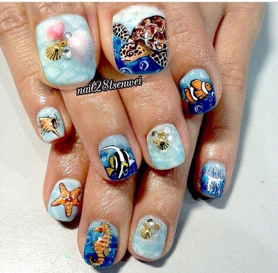 Hand painted sea nails by @nail28tsenwei