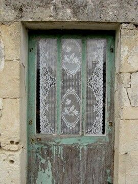 Lace curtain panel on front door with half glass | Our Room ...