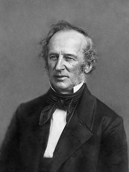 Cornelius Vanderbilt (1794 –1877) known by the sobriquet Commodore, was an American tycoon, businessman, & philanthropist who built his wealth in railroads & shipping. He was also the patriarch of the Vanderbilt family & one of the richest Americans in history. He provided the initial gift to found Vanderbilt University, which is named in his honor. In 1813 Vanderbilt married his first cousin, Sophia Johnson, they were the parents of 13 children