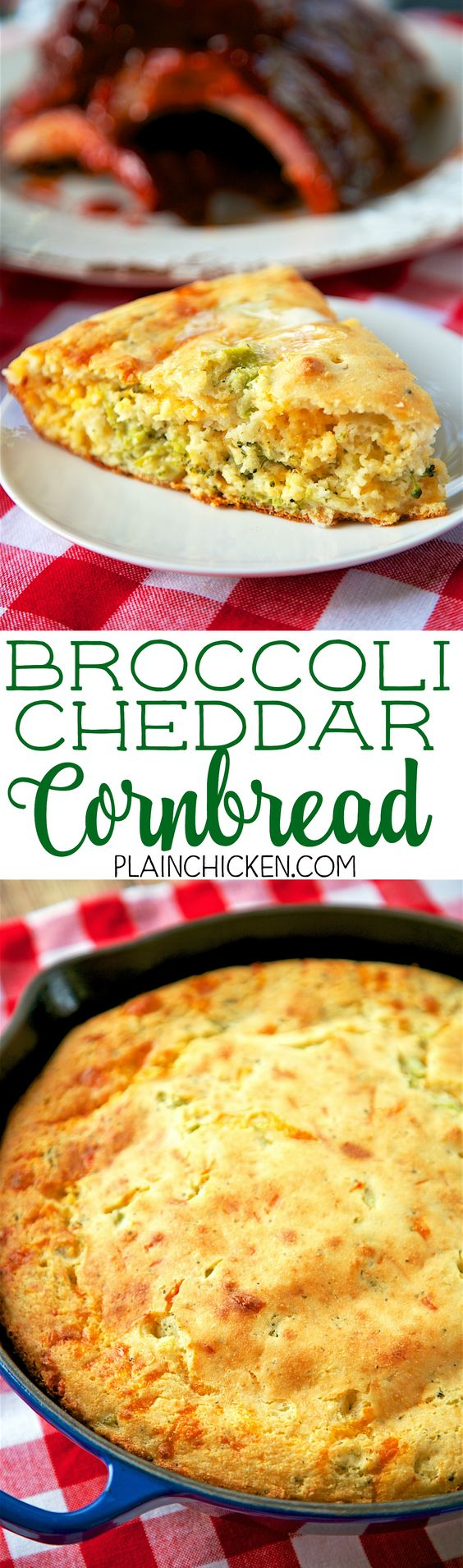Broccoli Cheddar Cornbread - only 6 ingredients! This stuff is crazy ...