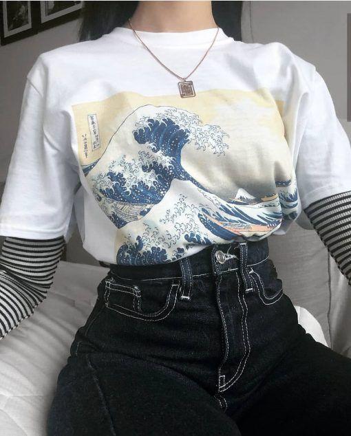 Great Wave Off Kanagawa Tsunami Japaneses Art Painting T Shirt Edgy Outfits Retro Outfits Clothes