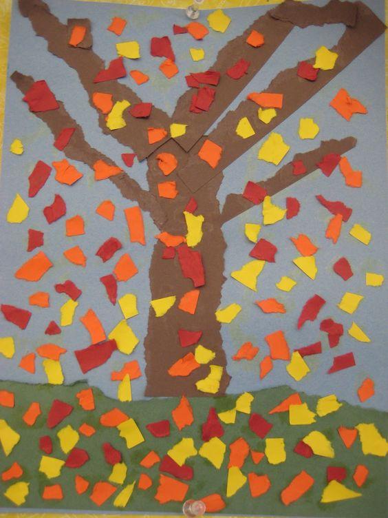 Kleuter knutsel: Herfstboom scheuren.