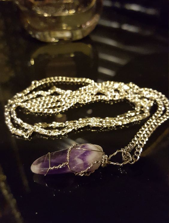 Wire Wrapped Chevron Amethyst Necklace- enhance peace of mind, relaxation, & self discovery by Simplysdjewelry on Etsy