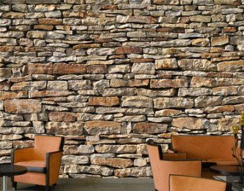 Fototapete papier american stones 400x280cm - Ziegel deko wand ...