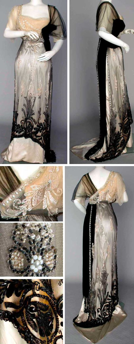 Evening gown, Jeanne Paquin, Paris, Winter 1911. Two pieces, Empire waist. Black silk net over ivory silk satin and black velvet sash and bow. All decorated with white and jet beads, Augusta Auctions
