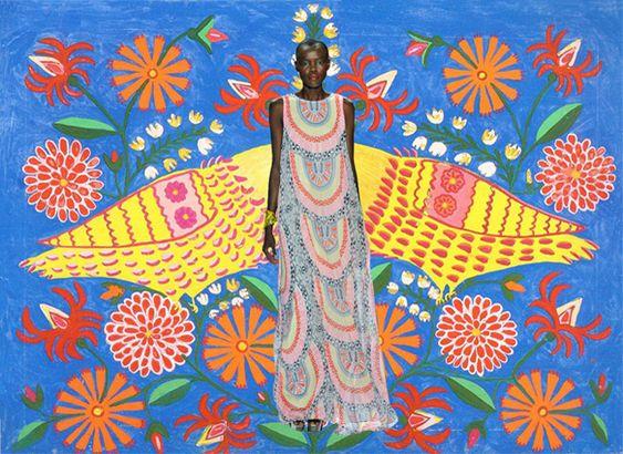 Miss Moss Mash-Up: Mara Hoffman's spring collection vs. Maria Primachenko's folk art.