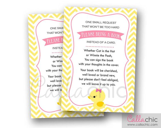 Duck Baby Shower Book Request PRINTABLE Invitation Insert (Rubber Ducky Pink Girl) 3.5x5 - Instant Download by CallaChic on Etsy https://www.etsy.com/listing/221133429/duck-baby-shower-book-request-printable