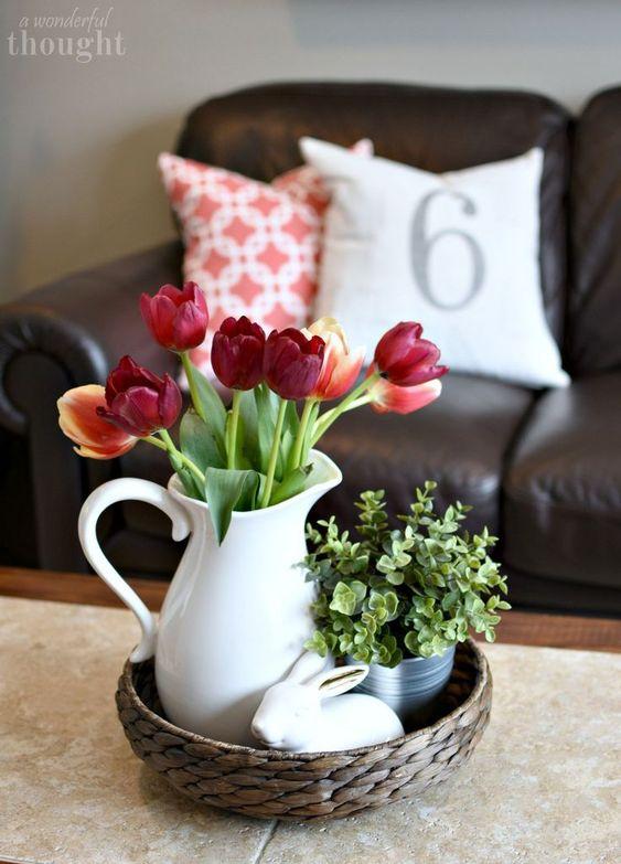 Spring mantel and living room decor #springmantel #springdecor #springlivingroom #awonderfulthought.com