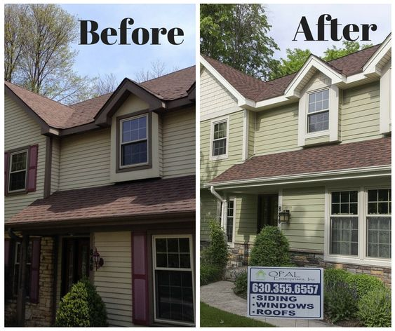 Before and After New SIding & Roof by Opal Enterprises #OpalCurbAppeal