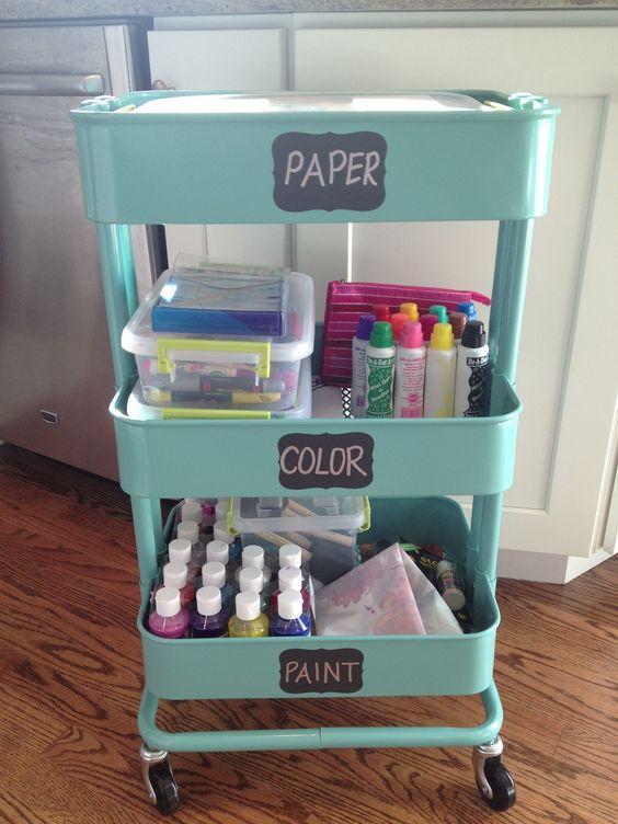 Kids craft organization cart.  Kitchen Cart from IKEA.  Chalkboard Labels from Martha Stewart- sold at Staples.