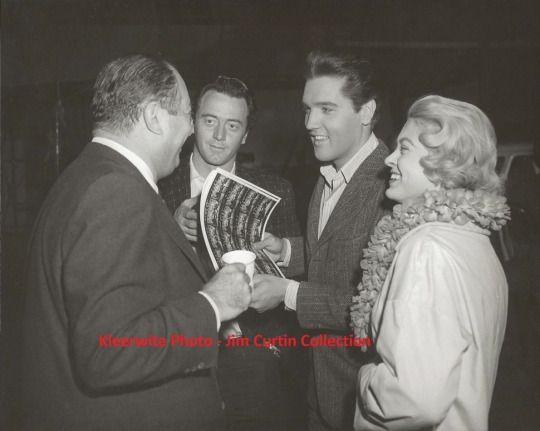 "With producer Jerry Wald, Bobby ""Red"" West and Nancy Sharp - circa November 1961 On the set of ""Wild in the Country."""