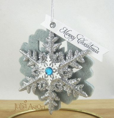 Create With Me: a snowflake ornament/card made using a felt snowflake from the bargain bin, a plastic glittery snowflake from a gift packaging received, a punched snowflake and a rhinestone!