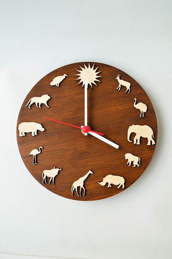 Safari wood clock african animal giraffe elephant lion for Kids room clocks