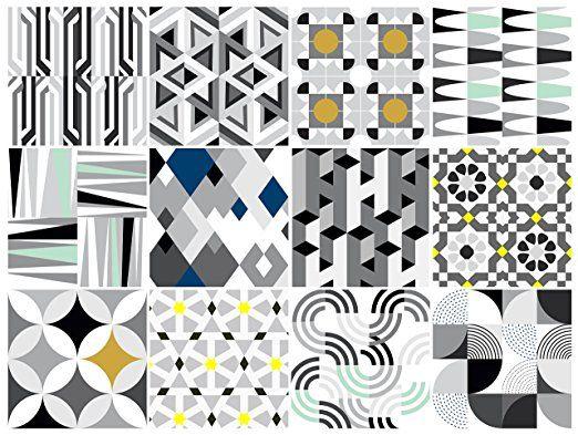 Bauhaus Decorative Tile Stickers Set 12 Units 6x6 Inches Peel Stick Vinyl Tiles Backsplash Home Decor Fur Wall Mural Decals Decorative Tile Sticker Decor