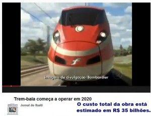 Trem-bala deve começar a operar comercialmente em 2020