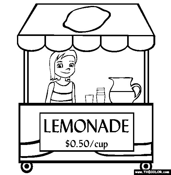 Lemonade Stand Online Coloring Page Appetizers