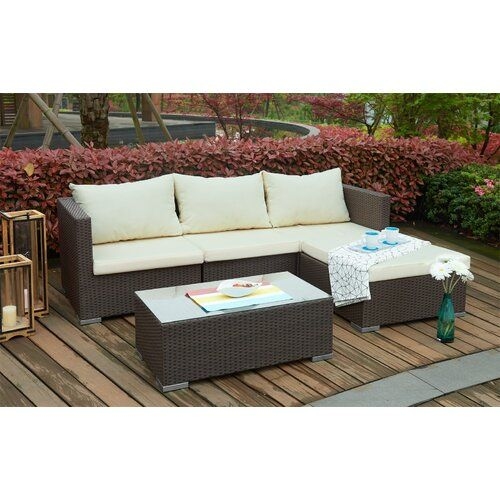 Gerhardt 3 Seater Rattan Corner Sofa Set Sol 72 Outdoor Colour Dark Brown Cream Garden Sofa Set Sofa Set Corner Sofa With Cushions