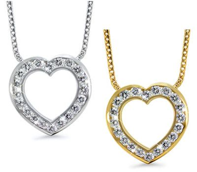 Open Heart Channel Set Diamond Necklace