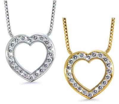 Open Heart Channel Set Diamond Necklace