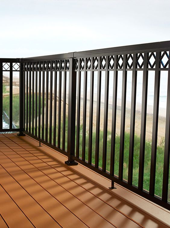 diy aluminum railing system wide pickets with decorative spacers and black rails diy. Black Bedroom Furniture Sets. Home Design Ideas